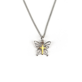 H.J. Sherman, Butterfly With Cross Pendant Necklace, Silver Plated Chain, 18 inches