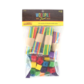 Woodpile Fun, Predrilled Wooden Blocks with Dowel, Assorted Colors, 135 Pieces