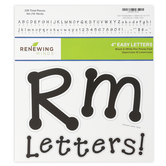 Renewing Minds, Black Pin Points Bulletin Board Letters, Upper and Lowercase, 4 Inches, Black/White, 220 Pieces