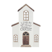 P. Graham Dunn, Philippians 4:13 All Things Church Tabletop Plaque, Wood, 10 x 6 1/2 inches