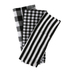 Kitchen Dish Towels, Black and White, 28 1/4 x 17 3/4 inches Each, 1 Each of 3 Designs