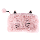 Cat Plush Zippered Pouch, Faux Fur, Pink, 4 1/2 x 7 inches