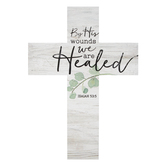 P Graham Dunn, Isaiah 53:5 By His Wounds We Are Healed Wall Cross, Wood, White, 8 1/2 x 12 x 3/4 inches