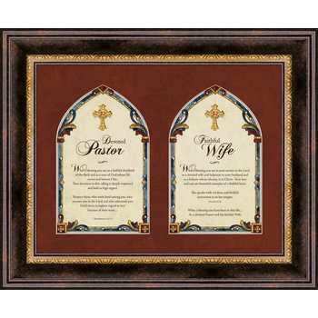 Christian Brands, Pastor and Pastor's Wife Framed Wall Art, Brown, 17 x 14 inches