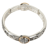 Oori Trading, Tree of Life Link Stretch Bracelet, Silver and Gold Plated, 1 Piece