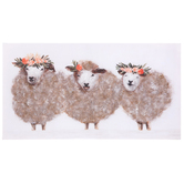 Sheep Trio Wall Decor, Canvas and MDF, White and Brown, 14 3/16 x 26 1/16 x 7/8 inches