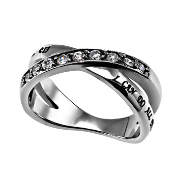 Spirit & Truth, Philippians 4:13, Christ My Strength, Women's Twin Band Ring, Stainless Steel, Sizes 5-9