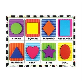 Melissa & Doug, Shapes  Chunky Wooden Puzzle, Ages 2 to 4 Years Old, 8 Pieces