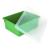 Storex, Deep Storage Tray With Clear Lid, Letter Size, Green, Plastic, 13 x 10.5 x 5 Inches, 2 Pieces
