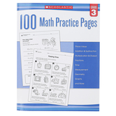 Scholastic, 100 Math Practice Pages Workbook, Reproducible Paperback, 112 Pages, Grade 3