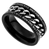 Spirit & Truth, Isaiah 40:31, Strength, Inset Chain, Men's Ring, Stainless Steel, Black, Sizes 8-12