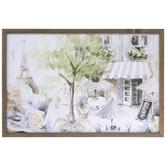 Parisian Street Watercolor Wall Decor, MDF, 16 x 23 7/8 x 5/8 Inches