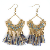 By His Grace, Arc with Tassels Dangle Earrings, Zinc Alloy and Brass, Gold