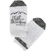 Kayser-Roth Corporation, Matthew 17:20 Faith Can Move Mountains, Women's No-Show Socks, Black and White, 1   Pair