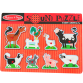 Melissa & Doug, Farm Animals Sound Puzzle, 8 Pieces, 8 3/4 x 11 3/4 inches, Ages 2 to 4 Years Old