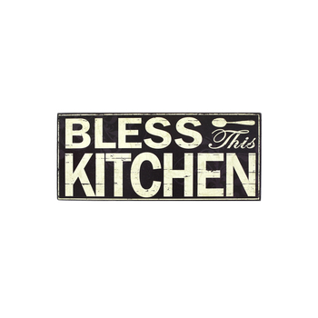 Bless This Kitchen Plaque, 11 3/4 x 5 inches