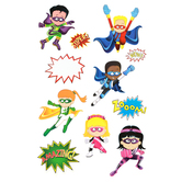 Superheroes Collection, Customizable Bulletin Board Set, Multi-Colored, 11 Pieces