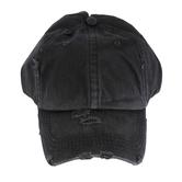 K&B Trading, Ponytail Washed Cotton Baseball Cap, Cotton, Black, One Size