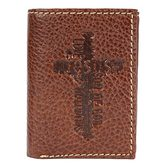 Christian Art Gifts, Jesus with Cross Tri-fold Wallet, Genuine Leather, Brown, 4 7/8 x 3 3/4 x 1 inches