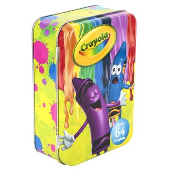Crayola, Crayon Storage Tin, 6 1/4 x 4 1/4 x 2 inches, Holds 64 Crayons