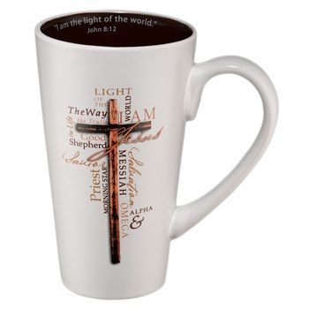 Christian Art Gifts, Names of Jesus Tall Coffee Mug, Stoneware, White and Black, 14 ounces