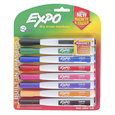 Expo, Low-Odor Magnetic Dry Erase Markers with Eraser, Fine Tip, Assorted Colors, 8-Pack