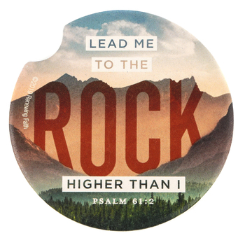 Renewing Faith, Psalm 61:2 Lead Me To The Rock Higher Than I Car Coaster, Absorbent Sandstone, Cream, 2 1/2 inches