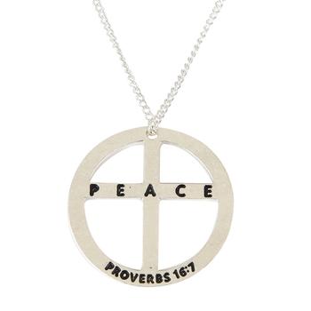 Soul Anchor, Proverbs 16:7 Peace Pendant Necklace, Zinc Alloy, Silver, 24 inches