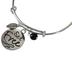 Bella Grace, Set Free Bangle Charm Bracelet, Zinc Alloy, Silver and Black, 2 3/4 inch diameter