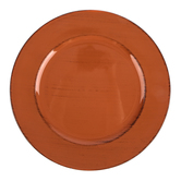 Burnt Orange Rustic Plate Charger, Plastic, 13 inches