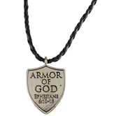 Roman, Inc., Armor of God Pendant Necklace, Silver-Toned, Black Braided Leather