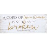 Ecclesiastes 4:12 Box Sign, MDF Wood, White, 24 x 10 x 1 1/2 inches
