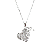 H.J. Sherman, Heart with CZ Stones and Small Cross Necklace, Silver Plated Chain, 18 inches