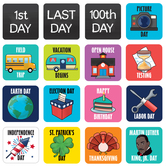 Renewing Minds, Calendar Days, Special Events, 2.5 x 2.5 Inches, Multiple Designs, 36 Pieces