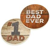 P. Graham Dunn, Best Dad Ever Car Coaster Set, Sandstone, 2 3/4 inches, Set of 2
