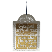 Holy Land Gifts, Philippians 4:19 God Will Supply Wall Decor, Metal, Silver/Gold, 6 3/4 x 9 1/8 inches