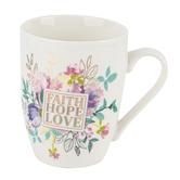 Christian Art Gifts, Faith Hope Love Coffee Mug, Ceramic, White, 12 Ounces