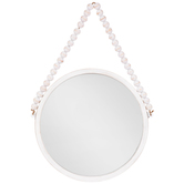 Whitewashed Beaded Round Wall Mirror, MDF, White, 25 x 16 3/4 x 2 inches
