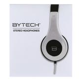 Bytech, Stero Headphones, White, 7 3/4 x 6 1/2 x 3 inches