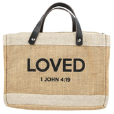 Faithworks, 1 John 4:19 Loved Purse-Style Bible Cover, Leather & Jute, Tan, Large