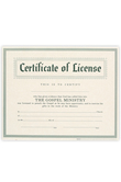 Broadman Church Supplies, Certificate of License, 8 1/2 x 11 inches, Set of 6