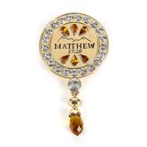Modern Grace, Matthew 17:20 Faith As A Mustard Seed Brooch, Gold, 1 1/2 x 2 3/4 Inches