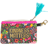 Natural Life, Kindness Matters ID Pouch, Cotton, Black/Pink, 3 1/2 x 5 1/2 Inches