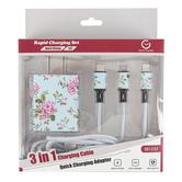 Tech-Trendz, Floral Print Rapid Charging Set, Pink & Blue, 2 Pieces