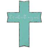 It is Well with My Soul Wall Cross, MDF Wood, Turquoise and Black, 12 x 16 inches