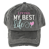 K&B Trading, Living My Best Life Adjustable Distressed Cap, Black, One Size Fits Most