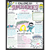 Calling All Superheroes All About Me Poster Set, 17 x 22 inches, Black and White, 30 Posters