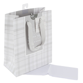 Christian Art Gifts, I Know the Plans Gray Plaid Medium Gift Bag, 9 3/4 x 7 3/4 Inches