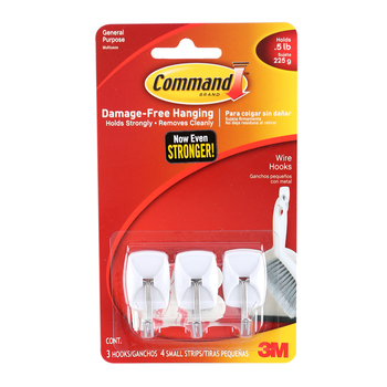 Command, Small Wire Hooks, White, 3 Pack