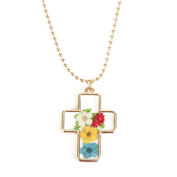 Faith in Bloom, Cross Pendant Necklace, Zinc Alloy, Gold, 20 Inch Chain